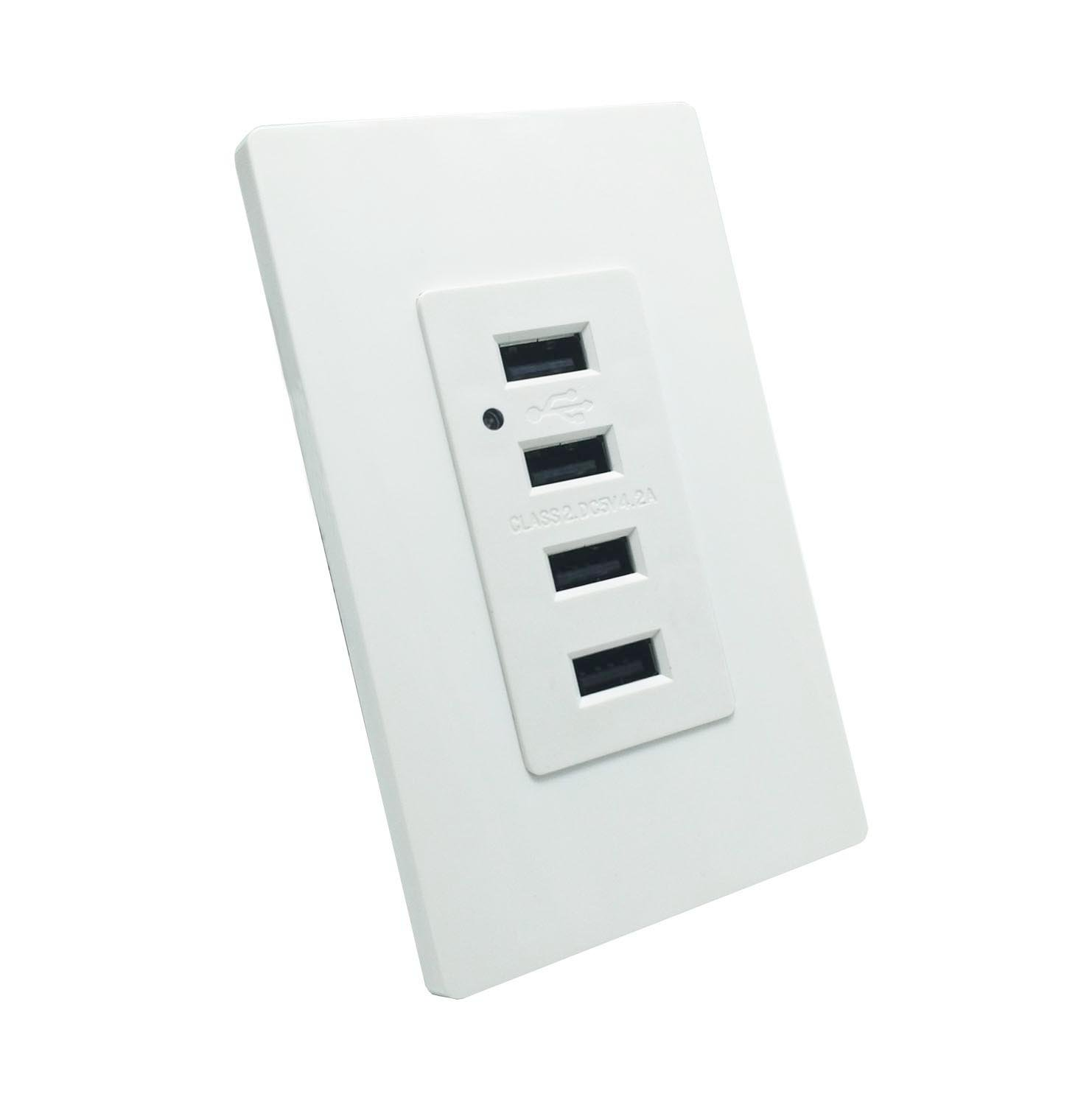 USB Charging Wall Outlet - LASOCKETS 4 USB Ports 4.2A 5V DC Smart High Speed Charger, White USB Receptacle with LED Light, 4.2 Amp 5 Volt USB Socket with 2 Free Wall Plates, UL Listed