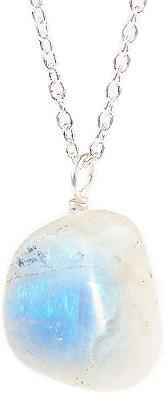 Collar con piedra lunar natural para regalo del Día de la Madre, piedra lunar auténtica, cadena de plata de ley de 18 pulgadas, regalo de cumpleaños de junio para ella