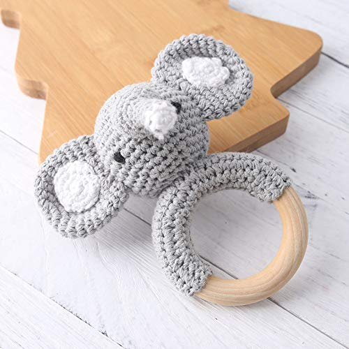 let's make Natural Wooden Baby Toys Cotton Crochet Elephant Teething Ring Teether Rattle for Baby Shower Gift