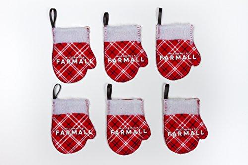 Farmall IH Logo Mitten Ornaments, Set of six