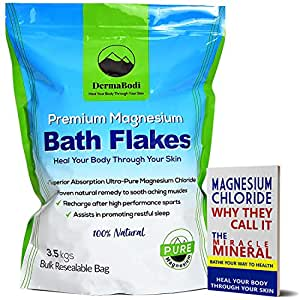 Premium Magnesium Bath Flakes – Bath Salts – Bulk Bag 3.5kgs Pure Healing Magnesium Salt Body, Foot Soaks Epsom Salts Detox Australian Owned Magnesium Chloride Flakes DermaBodi Bonus eBook