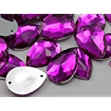 18x13mm Fuchsia CH21 Teardrop Flat Back Sew On Beads for Crafts - 50 Pieces