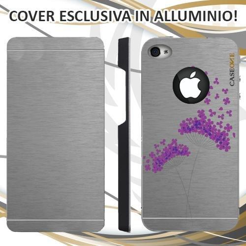 CUSTODIA COVER CASE FLOWER VIOLA VOLO PER IPHONE 4 ALLUMINIO TRASPARENTE