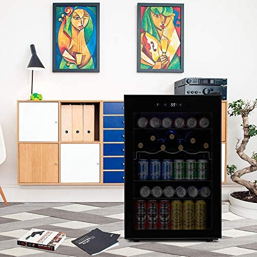 Kismile 4.5 Cu.toes Beverage Refrigerator and Cooler, 145 Can Mini Fridge Glass Door with Digital Temperature Display for Soda,Beer or Wine,small Drink Dispenser Cooler for Home,Office or Bar (Black)