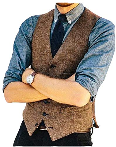 Onlylover Wool Herringbone Tweed Mens Vest Slim Trim Fit Men Party Dress Waistcoat(Color-a,L)