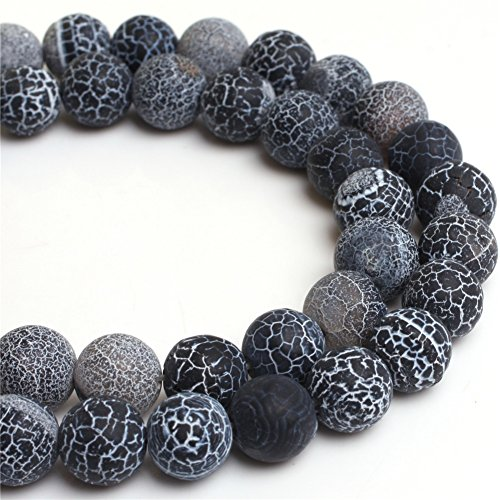 Natural Round Frost Black Agate Gemstone Beads For Jewelry Making Loose Beads In Bulk Wholesale Beads Handmade DIY One Strand 15