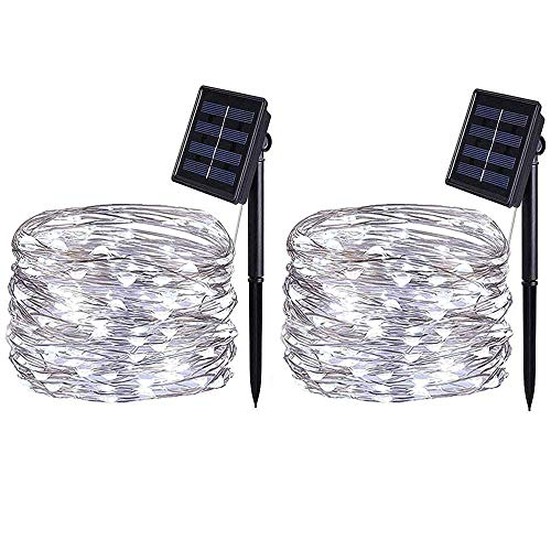 BOLWEO 2 Pack Solar Powered String Lights,Solar Fairy Lights,16.4Ft 50LEDS,Waterproof Wire Lighting for Indoor Outdoor Christmas Tree Halloween Home Garden Decoration(Cool White) -