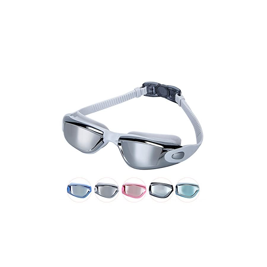 Unisex Adult Swimming Goggles For Men And Women, Anti fog, UV Protection, Watertight, Wide Large Frame and Mirrored Lens Youth Swim Goggles