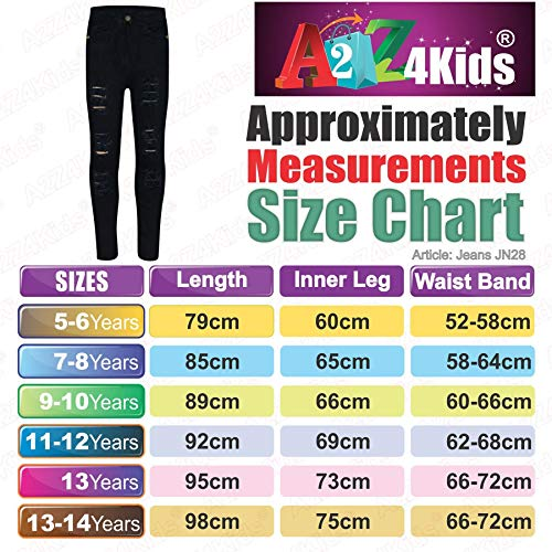 Kids Girls Skinny Jeans Denim Ripped Fashion Stretchy Pants Jeggings 3-14 Years 5