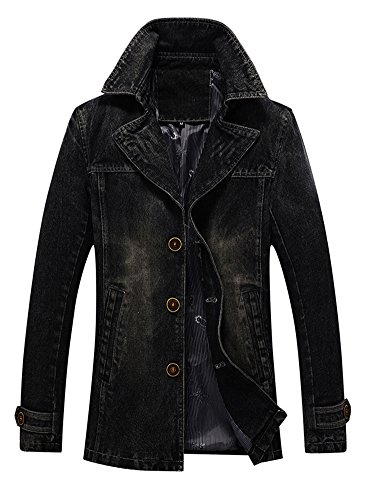 Idopy Men`s Vintage Label Collar Denim Jeans Jacket Trench Coat Black US S Asian XL