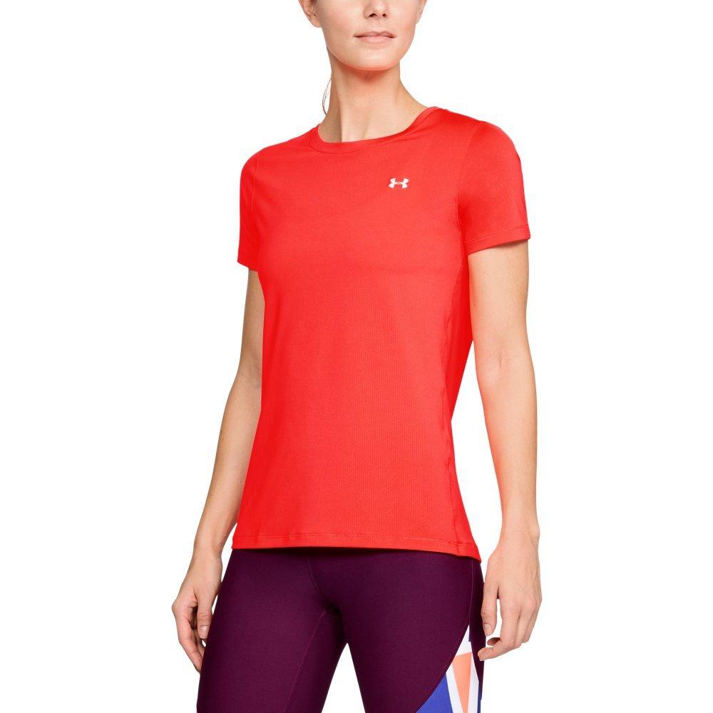Under Armour Women's HeatGear Armour Short Sleeve, Neon Coral (985)/Metallic Silver, X-Small