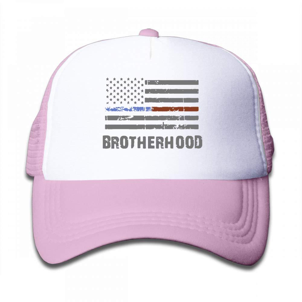 NO4LRM Kid's Boys Girls Thin Blue Red Line Brotherhood Flag Firefighte Youth Mesh Baseball Cap Summer Adjustable Trucker Hat