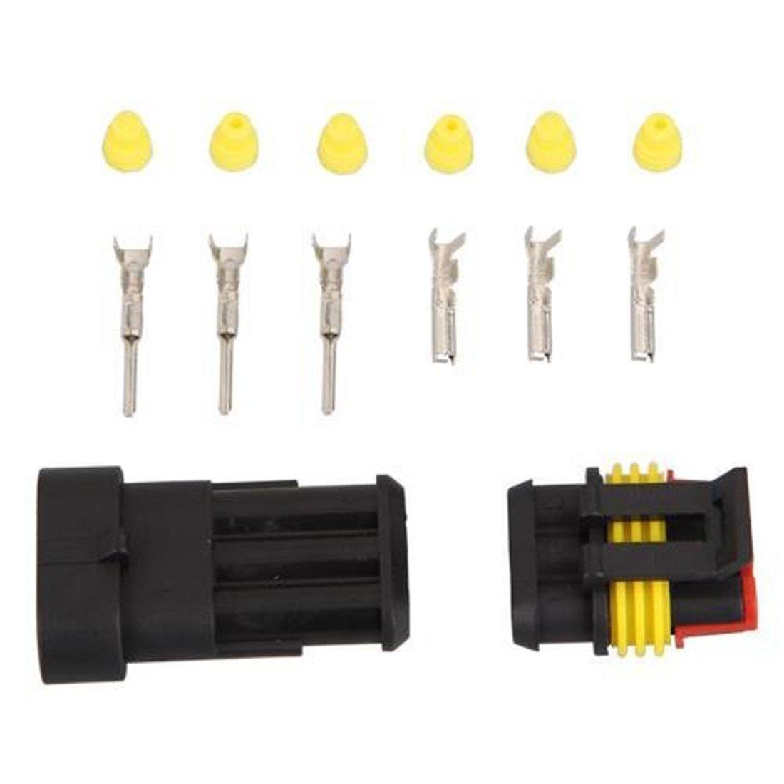 Car 1/Kit 3/pin Way /étanche Fil Fiche de connecteur m/âle et femelle de Kits de durable Auto /électrique