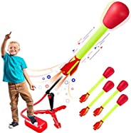 Toy Rocket Launchers for kids – Shoots Up to 100 Feet – 4 Foam Tipped Rockets and Sturdy Launcher Stand With Foot Launch Pad
