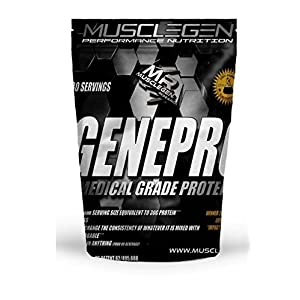 """GENEPRO Medical Grade Protein 60 Servings, by Musclegen Research - Premium Protein for Absorption, Muscle Growth & Mix-Abilty. Gluten-Free, No Sugar, Flavorless and Mixes with any Drink. """"17.2 OZ"""""""