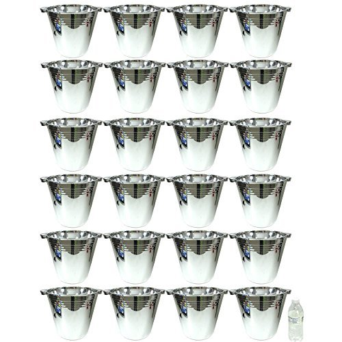 24 Plastic Reusable Ice Buckets 5.9L Tubs Cooler Wine Champagne Bar Beer -