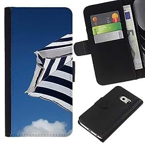 Samsung Galaxy S6 EDGE / SM-G925(NOT FOR S6!!!) Modelo colorido cuero carpeta tirón caso cubierta piel Holster Funda protección - Sky Beach Clouds Blue Seaside