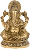 Kapasi Handicrafts Brass Ganesha Sitting Idol (15 cm x 12 cm x 21 cm, Gold)