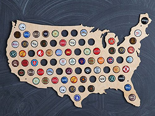 USA Beer Cap Map | Beer Cap Holder for 77 Caps| Beautiful Baltic Birch Wood Wall Art, 24 x 15 Inches | Made in USA by Beer Cap Trap