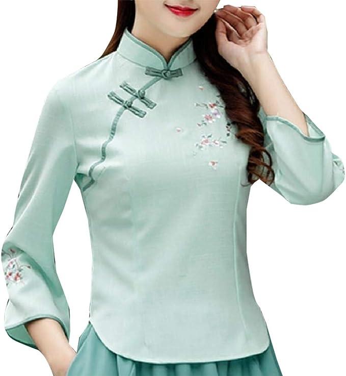 securiuu Blusa de Manga Larga para Mujer, Estilo Vintage, con Bordado de Camisa China Qipao Verde Verde S: Amazon.es: Ropa y accesorios