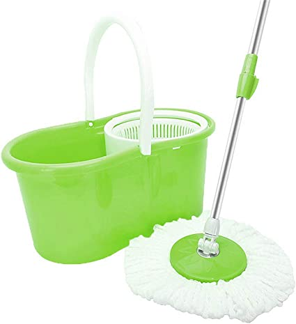 360° Spin Mop /& Bucket Set Microfibre Rotating With 1 Dry Mop Head Floor Cleaner