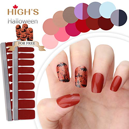(HIGH'S HALLOWEEN DESIGN EXTRE ADHESION Nail Wraps Decals Art Transfer Sticker Collection Manicure DIY Fullnail Polish patch Strips for Wedding, Party, Shopping, Travelling, 24pcs (Halloween)