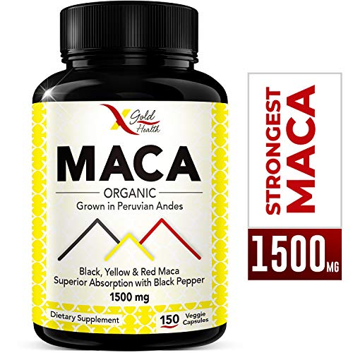 Organic Maca Root Powder Capsules Black, Red, Yellow, Strongest 1500mg Peruvian Maca Gelatinized for Energy, Performance and Mood for Men and Women, 150 Vegan Pills w/Black Pepper for Best Benefits