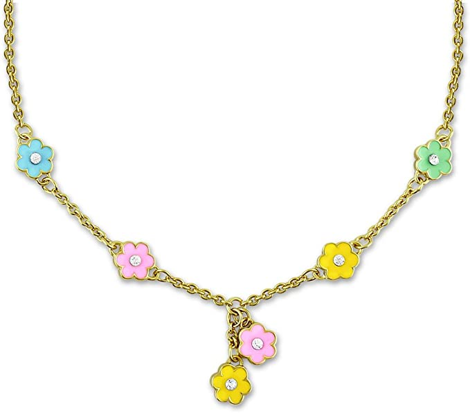 Flower Necklace For Women And Teens - Dainty Jewelry With Hand Painted Flower Charms - Choose From Vibrant Or Pastel Colors - Flower Jewelry For Women | 16 Inch Necklaces For Women, Adjustable Chain