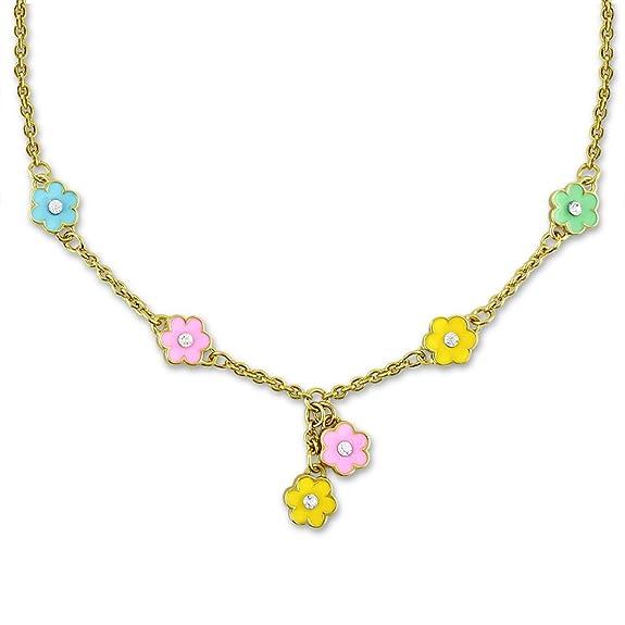 Flower Necklace Little Girls Jewelry | 6 Flower Charms - Cute Necklace For Girls | Jewelry For Little Girls Flower Girl Necklace & Daisy Necklaces For Little Girls | Flower Girl Gifts