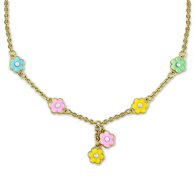 Flower and Crystal Charm Necklace for Girls and Kids Jewelry Sets Fashion Jewelry for Girls 18k Gold Plated