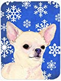 Caroline's Treasures SS4610LCB Chihuahua Winter Snowflakes Holiday Glass Cutting Board, Large, Multicolor