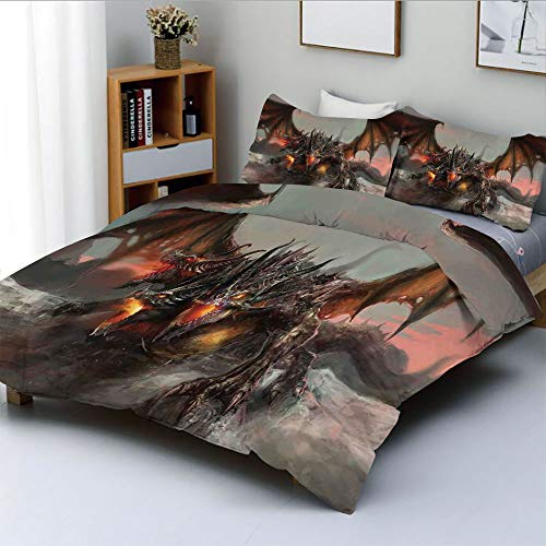 Duplex Print Duvet Cover Set King Size,Illustration of Three Headed Fire Breathing Dragon Large Monster Gothic ThemeDecorative 3 Piece Bedding Set with 2 Pillow Sham,Brown Grey,Best Gift For Kids & Ad ()