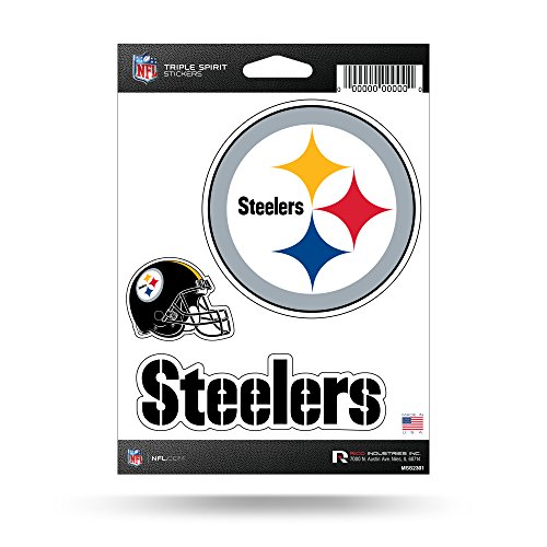 (Rico Industries NFL Pittsburgh Steelers Die Cut 3-Piece Triple Spirit Sticker Sheet)
