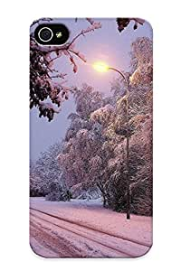 New Premium SzM367vJWyy Case Cover For Iphone 4/4s/ Winter Road Trees Lights Landscape Protective Case Cover