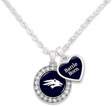 FTH Nevada Wolf Pack Logo and Heart Shaped Charm Necklace Featuring Team Slogan