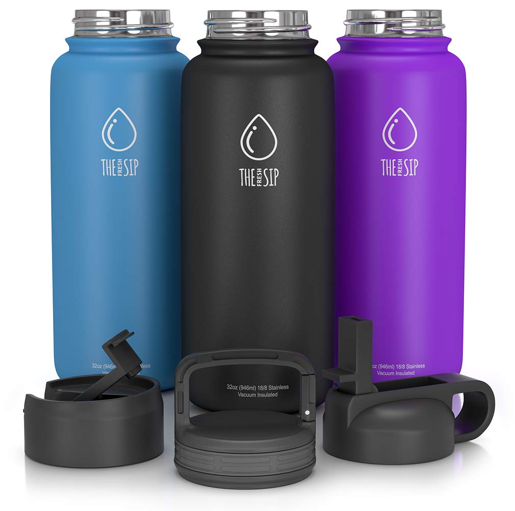 83345ef380 Amazon.com : 32oz Stainless Steel Water Bottle, Extra Three Lids - Straw,  Flip and Carabiner Caps, Double Walled & Vacuum Insulated, BPA Free, Powder  Coated ...