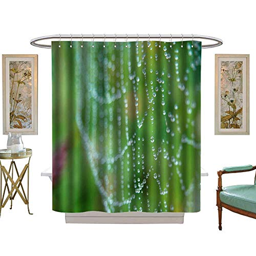 luvoluxhome Shower Curtains Fabric Dew on The Spider Web Bathroom Decor Set with Hooks W36 x L72 -