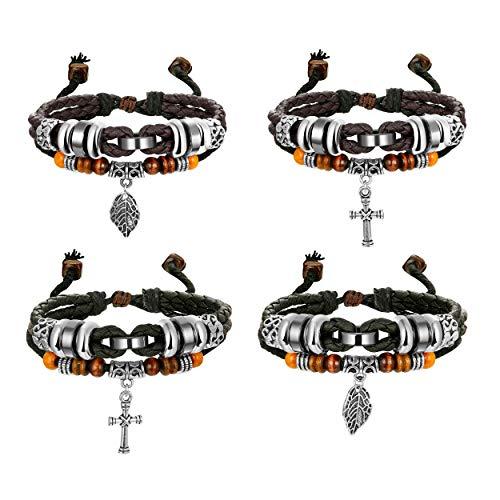 Multi Bangle Set - Finrezio 4 PCS Multilayer Brown&Black Leather Bracelets for Men Women Bangle Cross Leaf Cuff Bracelets Set Wristband Jewelry Adjustable