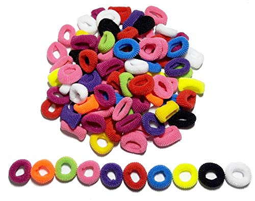 100Pcs 10mm Colorful Child Kids Hair Holders Cute Rubber Hair Band Elastics Accessories Girl Charms Tie Gum