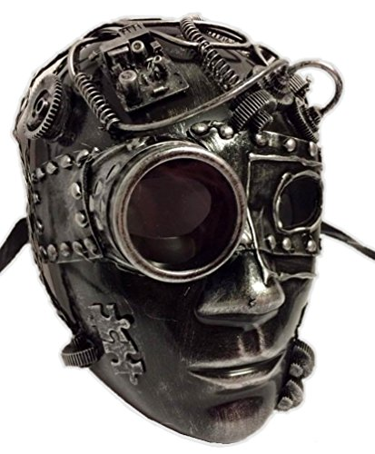 Metallic Silver Steampunk Robot Face Mask Adult Masquerade Costume Accessory -