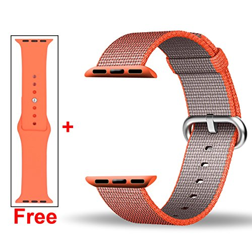 INTENY Woven Nylon Strap Buckle Replacement Wrist Bracelet with Silicone Band for Apple Watch Band Series 1 Series 2 42mm-Space Orange&Anthracite (Nylon Spaces compare prices)