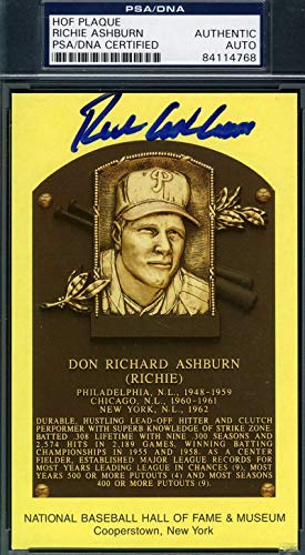 RICHIE ASHBURN PSA DNA Coa Autograph Gold HOF Plaque Hand Signed Authentic