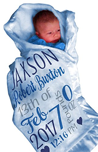 Personalized Baby Blankets for Boys (30x40, BLUE Micro Plush Fleece Satin Edge Trim) Custom With Baby