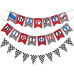 WERNNSAI Racing Car Happy Birthday Banner – Race Car Theme Party Supplies Birthday Party Decorations Checkered Hanging Wall Bunting Flags Pennant for Race Fans