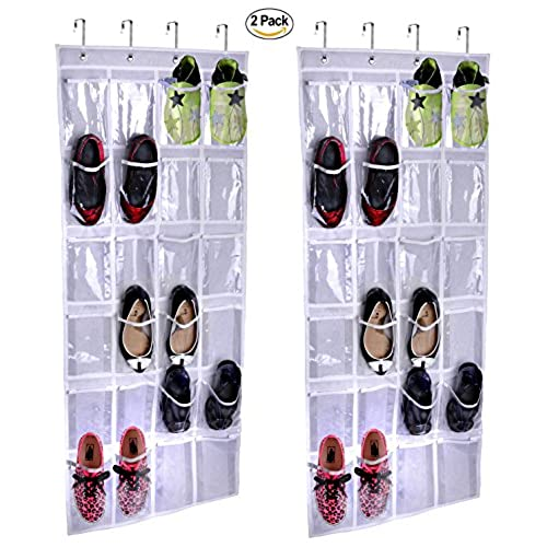 2 Pack Storage Over The Door Hanging Shoe Organizer By Lebogner   Shoe  Storage With Unique 24 See Through Reinforced Vinyl Pouches, Complete With  4 ...