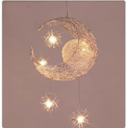 Creative Moon And Stars Fairy LED Pendant Lamp Chandelier Ceiling Light Kids Children Bedroom Decoration (Warm White Light)