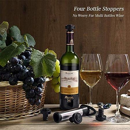 YFOX Bomba de vacío para ahorrar vino, de acero inoxidable, para conservar el vino, para eliminar el aire y preservar el vino, con 4 tapones de vacío