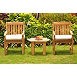3Pc Grade A Teak Wood Dining Set Adirondack Side Table U0026 2 Devon  Arm/Captain Chairs #WHDSDV13