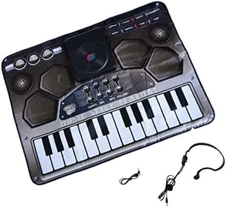 Playo Kids DJ Mixer Fun Play Mat - Amazing Gifts for Boys & Girls - Includes 24 Keys that Simulate 8 Different Instruments, 4 Drum Sounds, 3 Scratch Sound Effects, A Headset Microphone, and More..