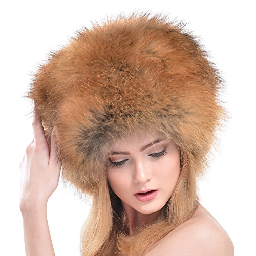 Bellefur Winter Women Real Raccoon Fur Hats Headgear Russian Beanies Cap Natural